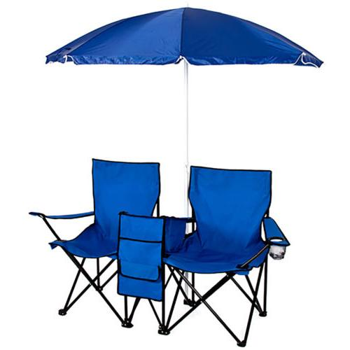 Incredible Double Portable Folding Picnic Chair W Umbrella Table Cooler Machost Co Dining Chair Design Ideas Machostcouk