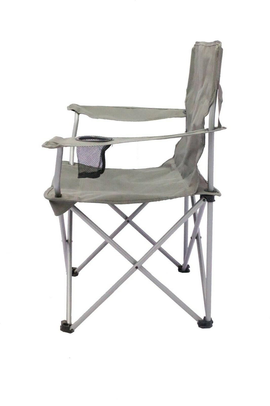 2 Pack Folding Camping Steel Frames One Armrest Gray Seat