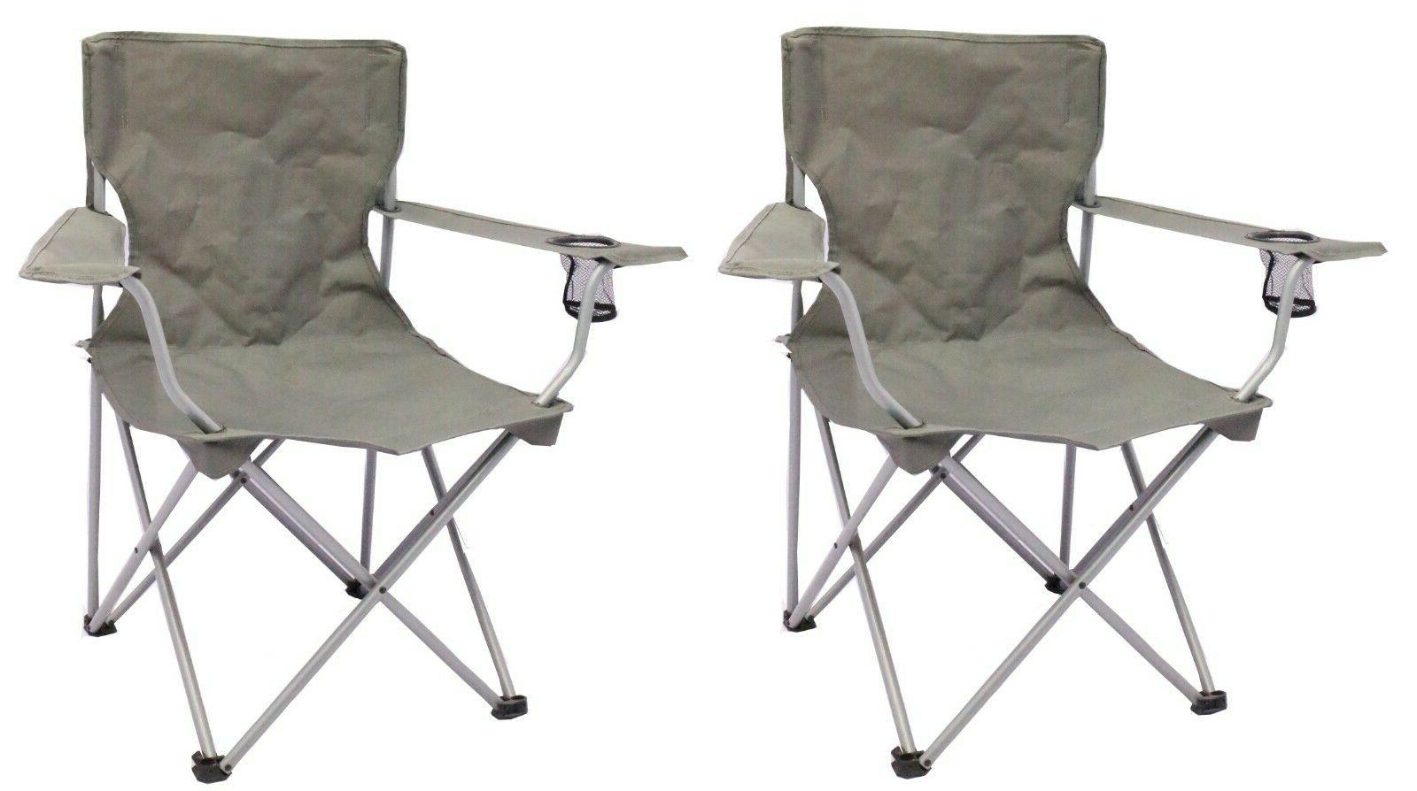 2 Pack Quad Folding Camping Chair Steel Frames One Armrest G