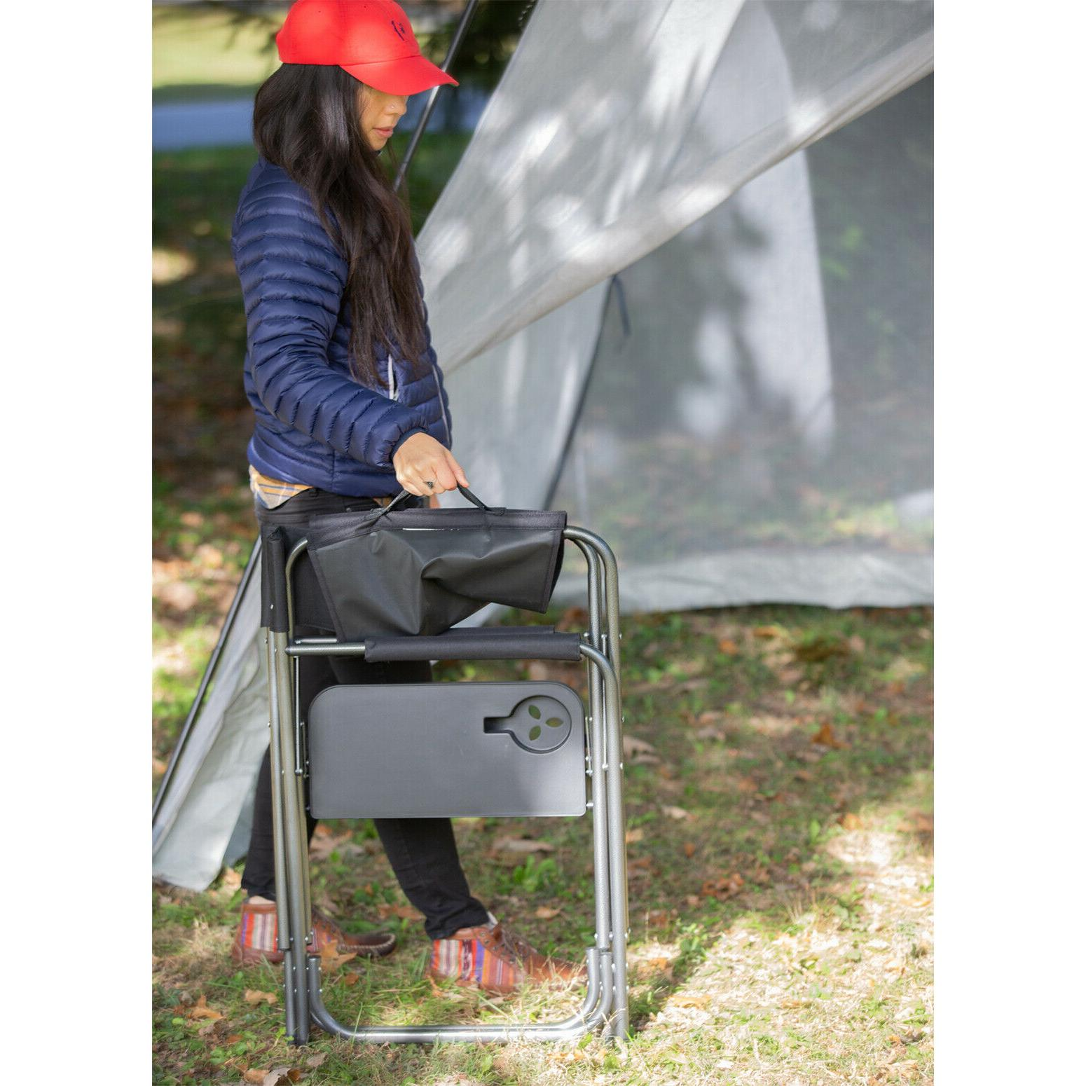 Foldable Director's Camping Seat Lawn Side Table
