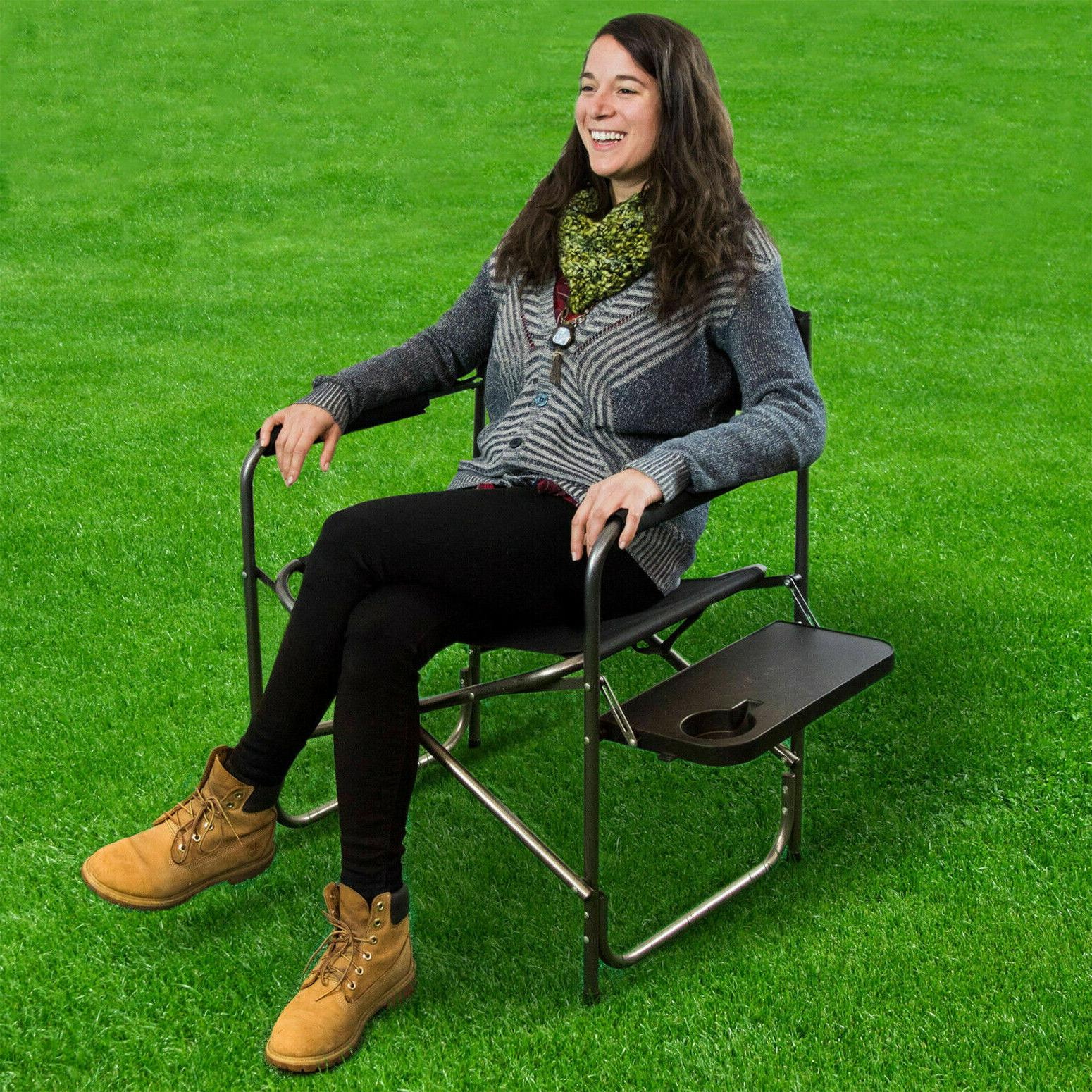 foldable directors chair travel camping seat backyard