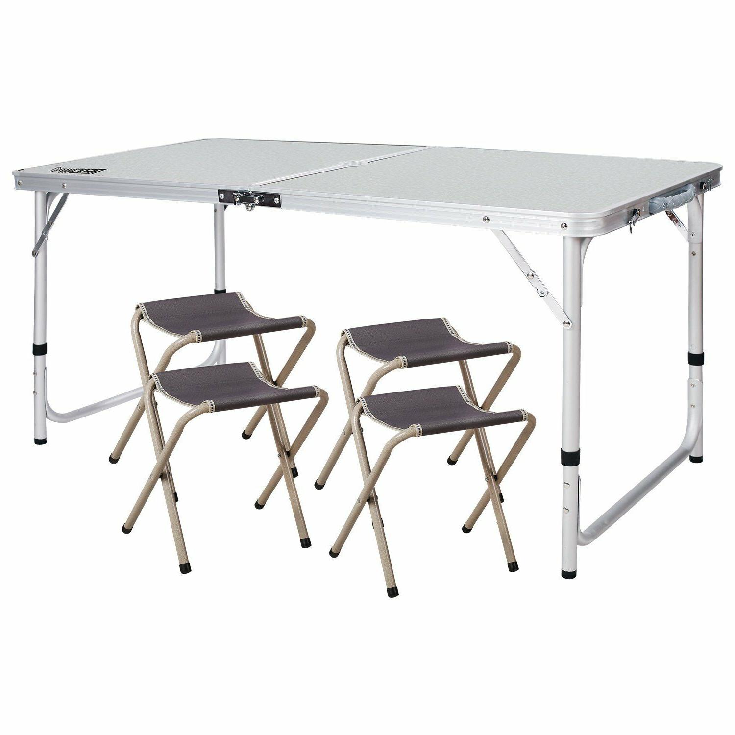 folding camping table with chairs adjustable portable