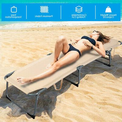 Folding Chaise Chair Bed Adjustable Beach Patio Camping Recliner