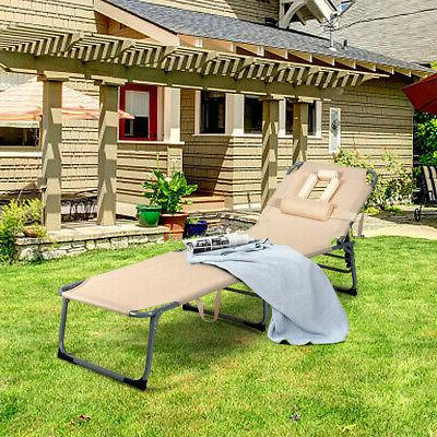 Folding Bed Adjustable Beach Patio Camping Recliner