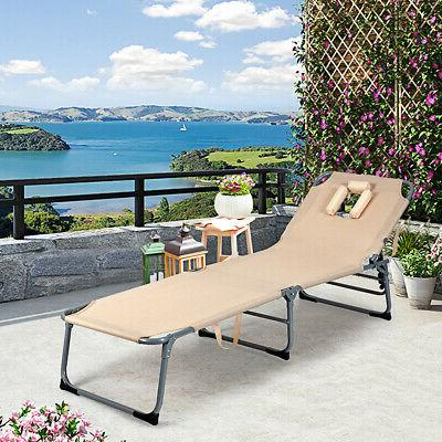 Folding Chaise Lounge Chair Bed Adjustable Outdoor Patio Recliner
