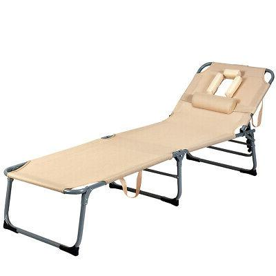 folding chaise lounge chair bed adjustable outdoor