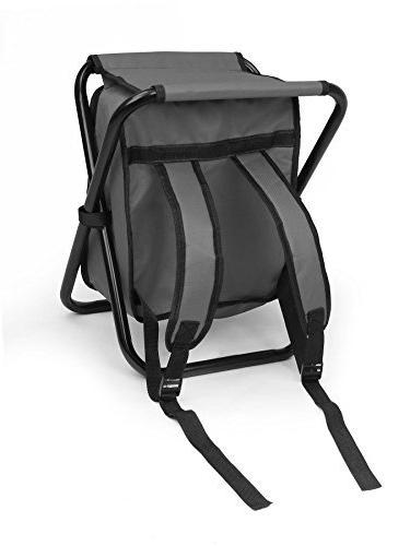 Folding Backpack - Collapsible Seat Insulated Bag Padded Shoulder - by
