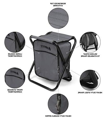 Folding Cooler and Backpack Multifunction Grey Collapsible Camping Seat and Insulated Bag with Padded Shoulder Straps - by