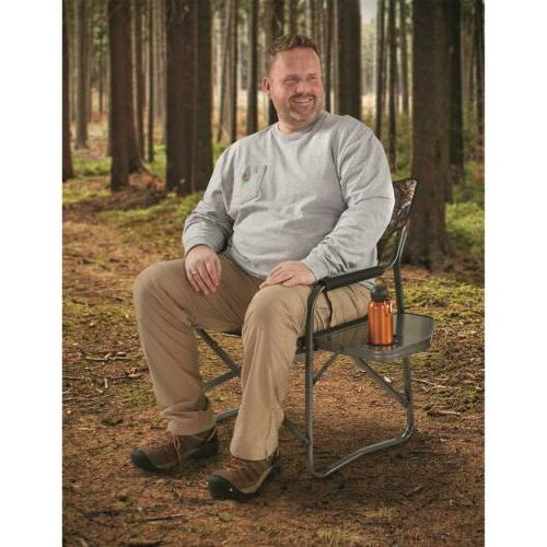 Folding Director Lounge Camping 500 Lb Capacity With Cup Holder Oak