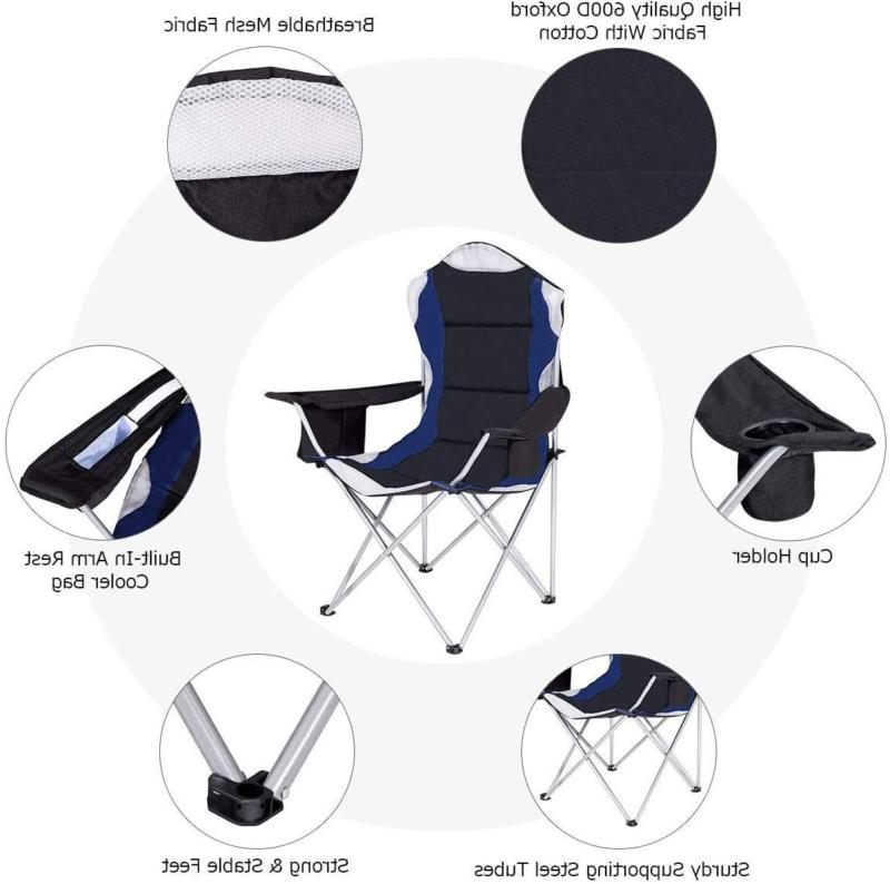 Folding Fishing Camping Chair with Cup Holder Side Bag New