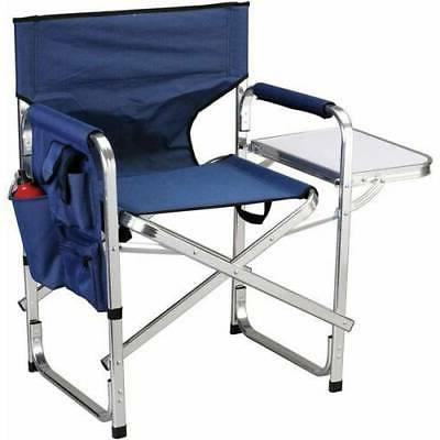 Folding Full-Back Directors Chair with Side Table Sturdy and