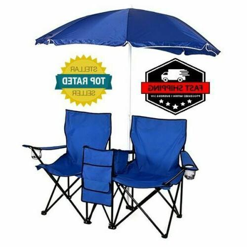 Folding Beach Double Chair Table Cooler Fishing