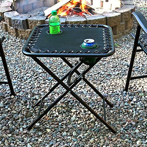 Sunnydaze Table with Mesh Drink Holders, Outdoor Portable