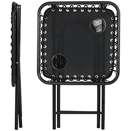 Sunnydaze Folding Sling Side Table with Holders, Portable Camping Accessory,