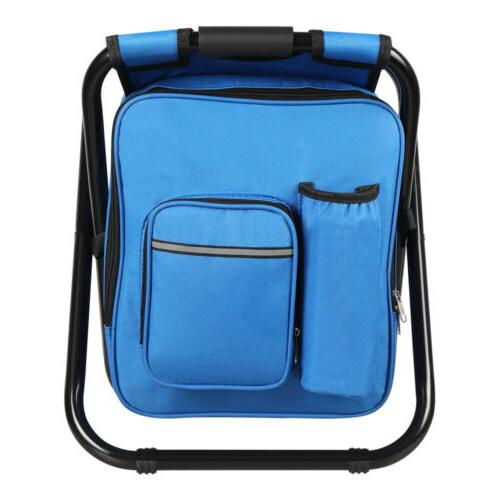 Folding Stool Insulated Cooler Bag Backpack Beach Fishing Hiking