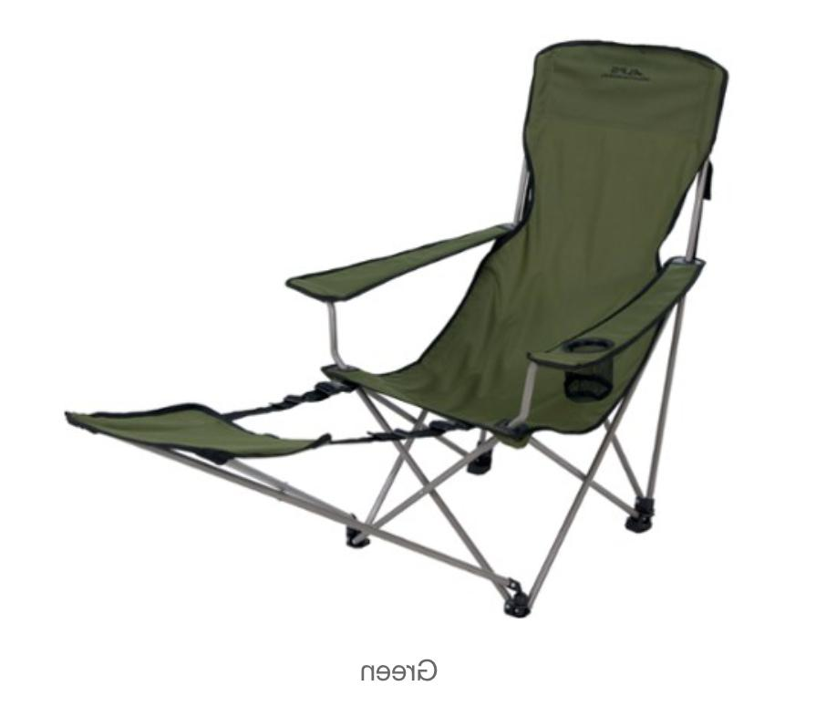green camping chair with foot rest