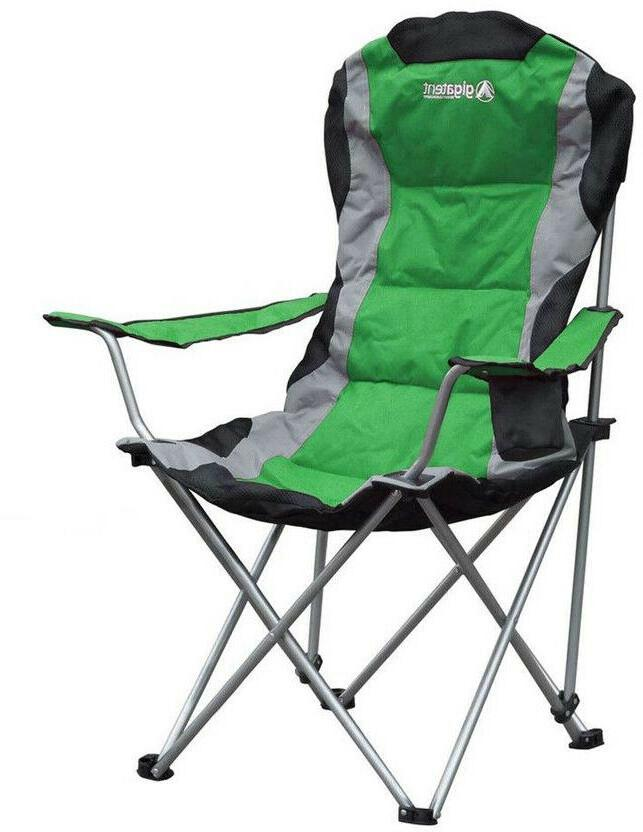 green steel folding camping chair