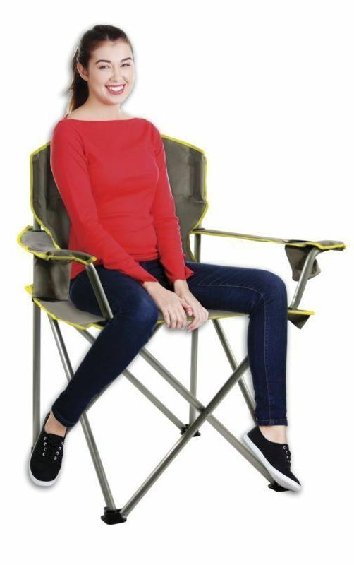 Heavy Duty Folding Chair Seat 500LBS Camping Cup