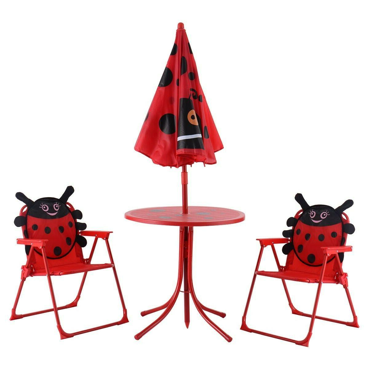Kids Table And Chairs With Umbrella Picnic Folding Garden Fu
