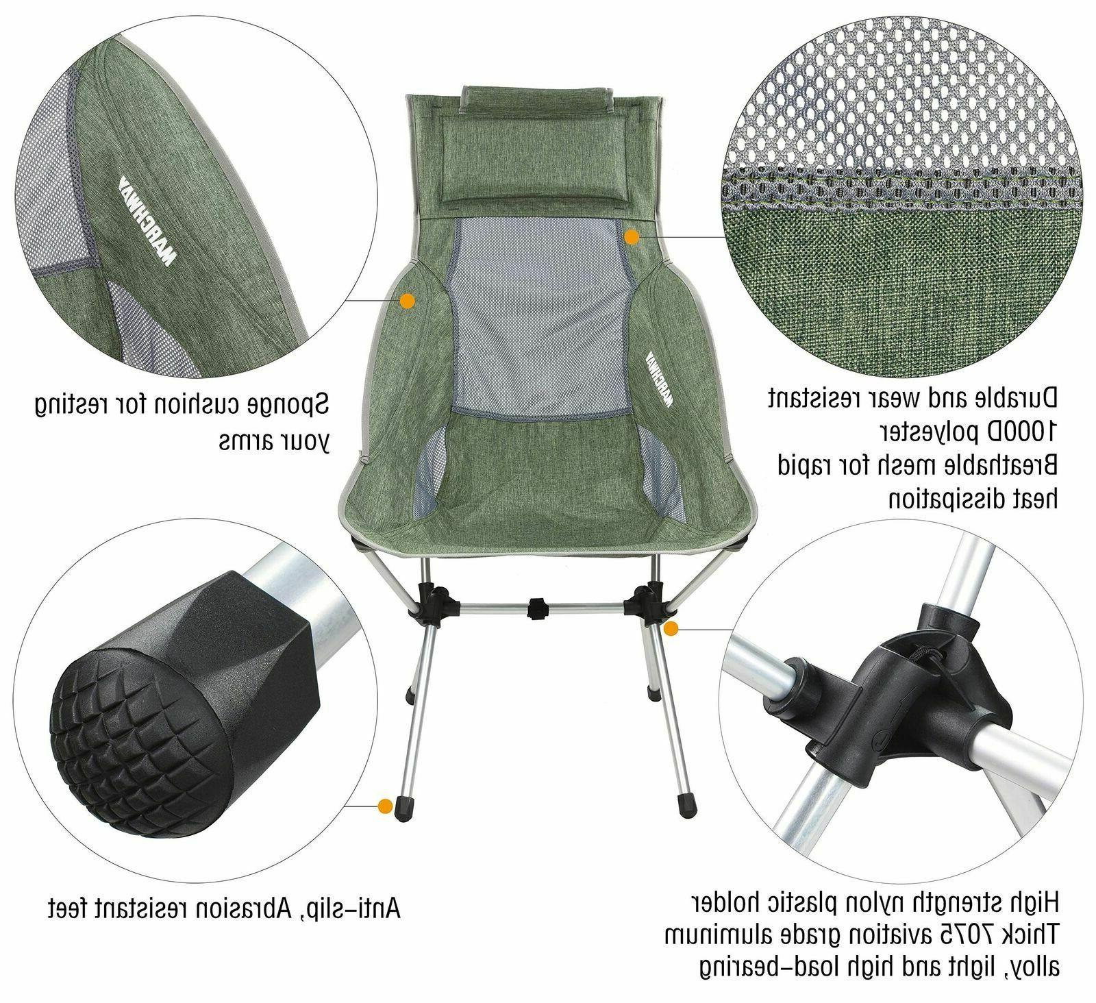MARCHWAY High Back Camping With Headrest Portable