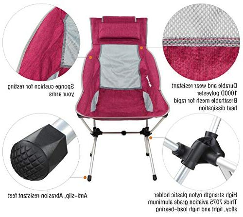MARCHWAY Folding High Back Headrest, Portable for Outdoor Festival, Backpacking