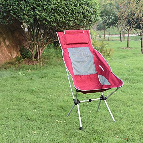 MARCHWAY Folding High Back Camping Chair Headrest, Portable for Outdoor Festival, Hiking, Backpacking