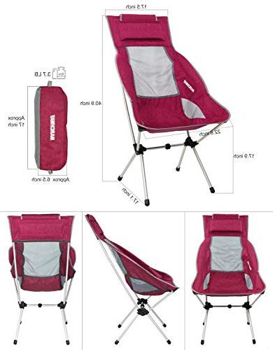 MARCHWAY Lightweight Folding High Back Chair Headrest, Portable Compact Outdoor Camp, Festival,