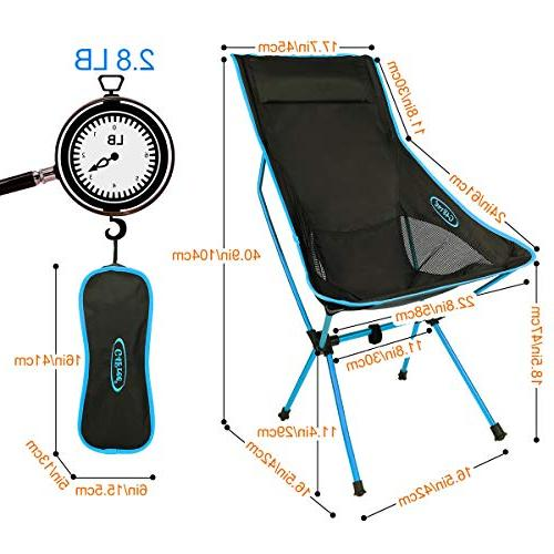 G4Free Lightweight Portable Chair Outdoor Backpacking Camping Lounge Chairs for Picnic Hiking Fishing