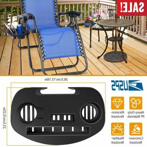lounge chair side tray cup holder folding
