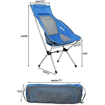 MARCHWAY Lightweight Chairs High Back Camping With Headrest, Portable