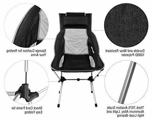 MARCHWAY Folding High Back Camping with Headrest Portable