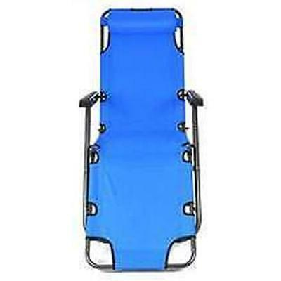 Outdoor Reclining Chaise Lounge Bed Chair Camping Portable