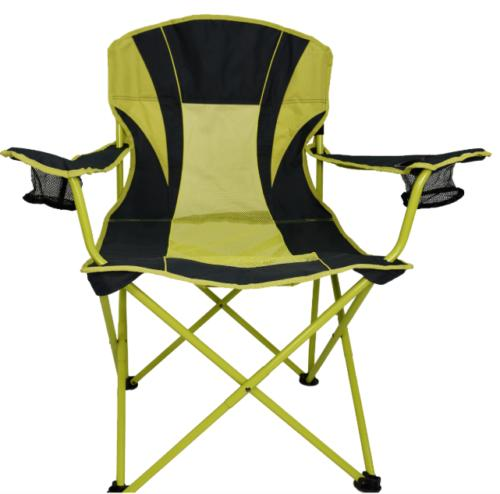 Oversized Camping Chair Gray Stone Lime Folding Steel Frame