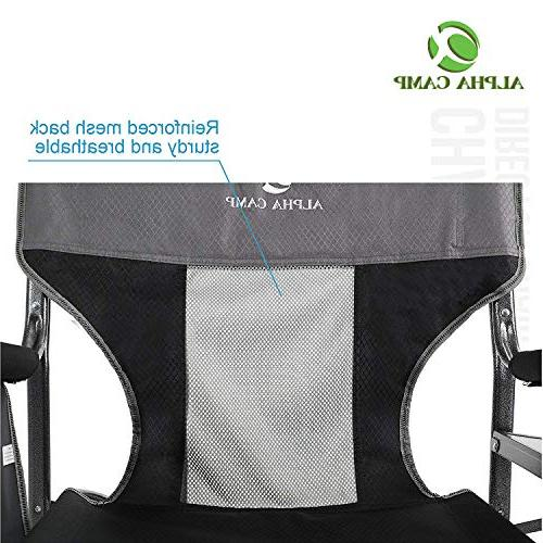 ALPHA CAMP Director Chair Heavy Frame Collapsible with Table, Supports 300 lbs - Grey/Black