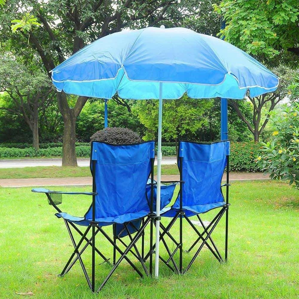 picnic double folding chair w umbrella table