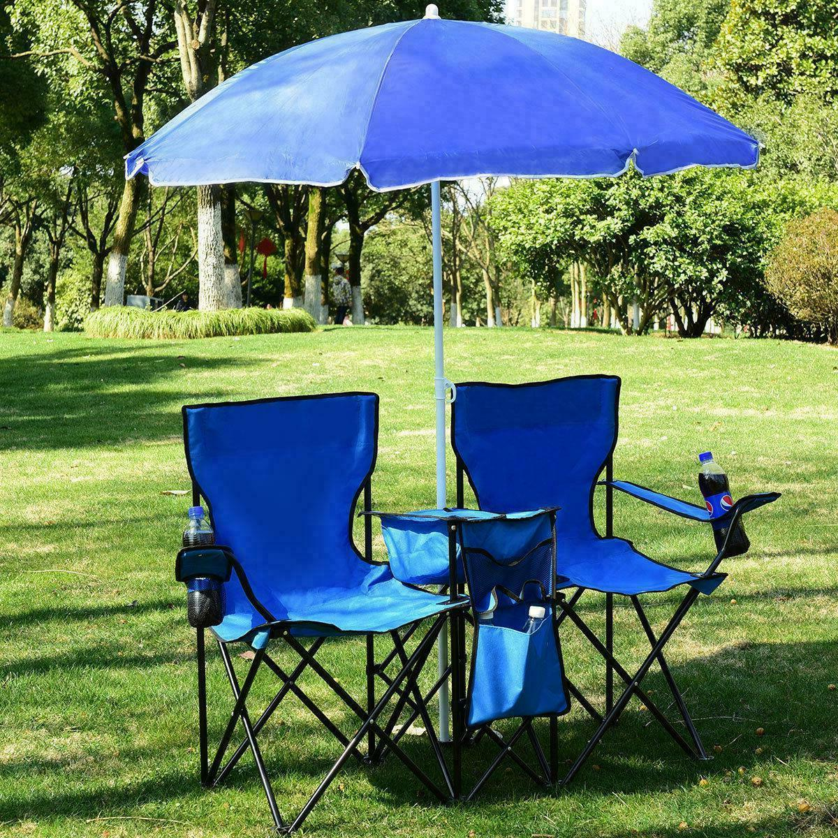 Folding Picnic Beach Camping Double Chair+Umbrella Table Coo