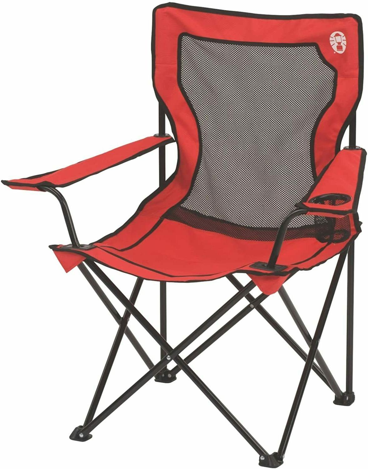Quad Camping Fishing Chair Portable Broadband Mesh Red Home