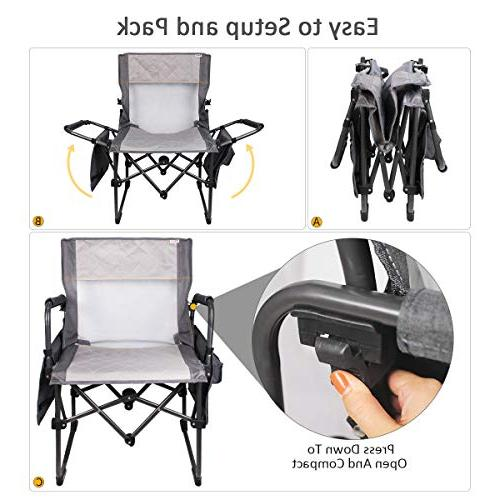Zenree Camping Chair Breathable Duty Deck Lawn Chairs with Cup Holder Side Gray