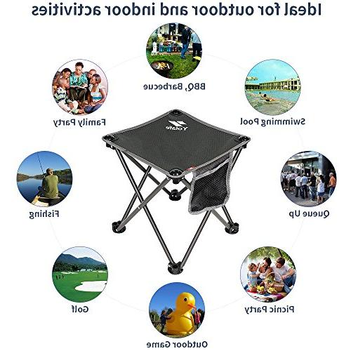 Portable Camping Stool, Folding Chair for Hiking Gardening Beach, Grey Bag