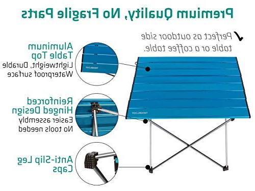 Trekology Portable Tables with Aluminum Top: in a Bag for Picnic, Camp, Useful for Dining Cooking to