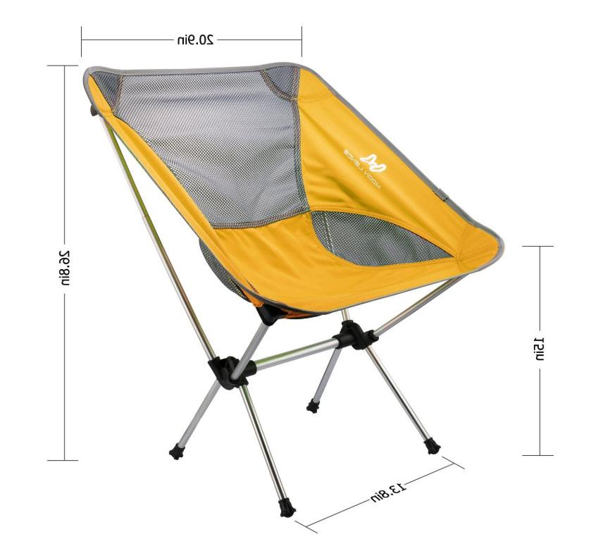 Portable Folding Chair Camping Backpacking Fishing Outdoor Seat Yellow