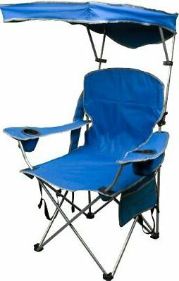 Quik Shade Adjustable Canopy Folding Camp Chair blue