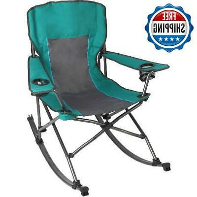 rocking portable folding chair built in cup