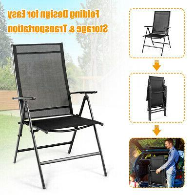 Set of 4 Patio Folding Adjustable Portable Black