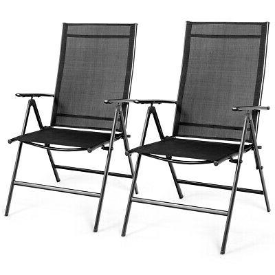 set of 2 patio folding dining chair