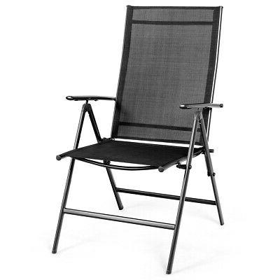 Set of Patio Folding Chair Adjustable Camping Portable