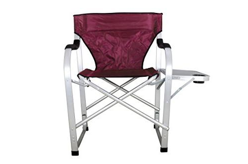 Stylish Burgundy Heavy Folding Camping Director Chair with table