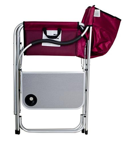 Stylish SL1215 Burgundy Heavy Duty Folding Director with Side table