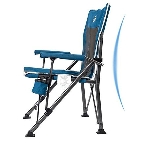 Timber Camping Chair Ergonomic Back Support 300lbs with Folding Quad Heavy Cup