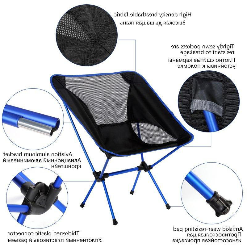 Foldable Camping <font><b>Chair</b></font> BBQ Hiking Light <font><b>Chair</b></font> <font><b>High</b></font> Load <font><b>Beach</b></font> Picnic